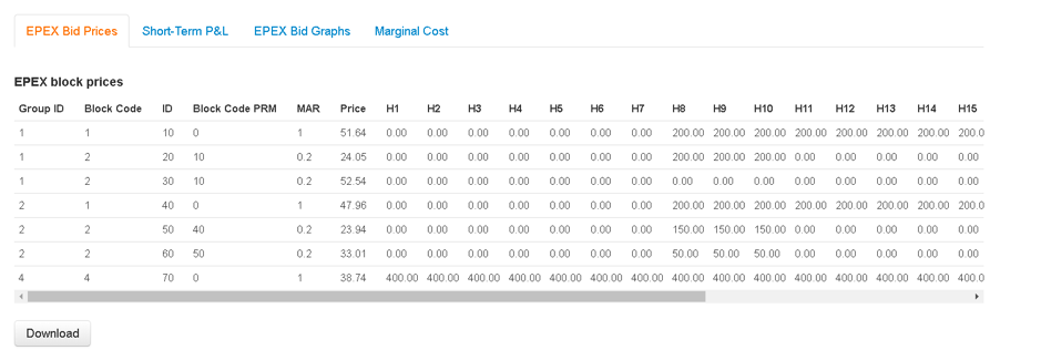 EPEX Bidding tool output table