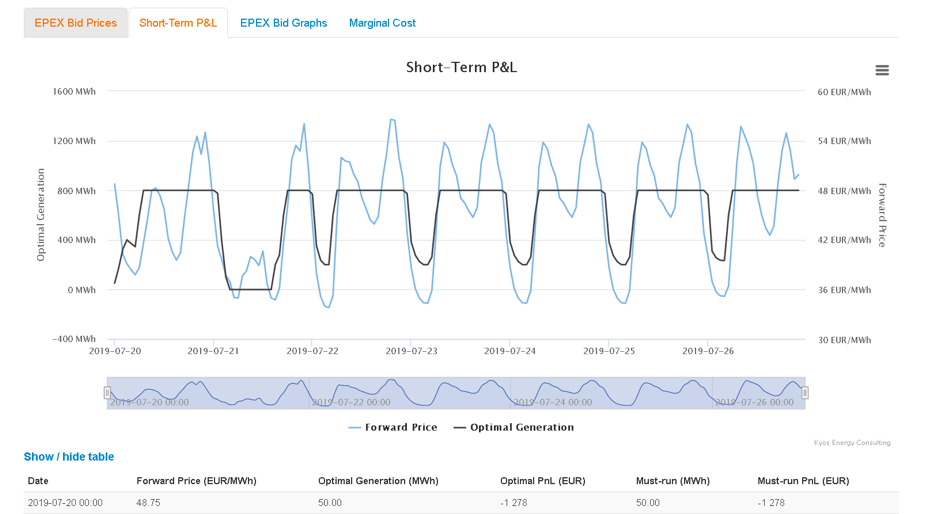 EPEX Biddng tool output graph
