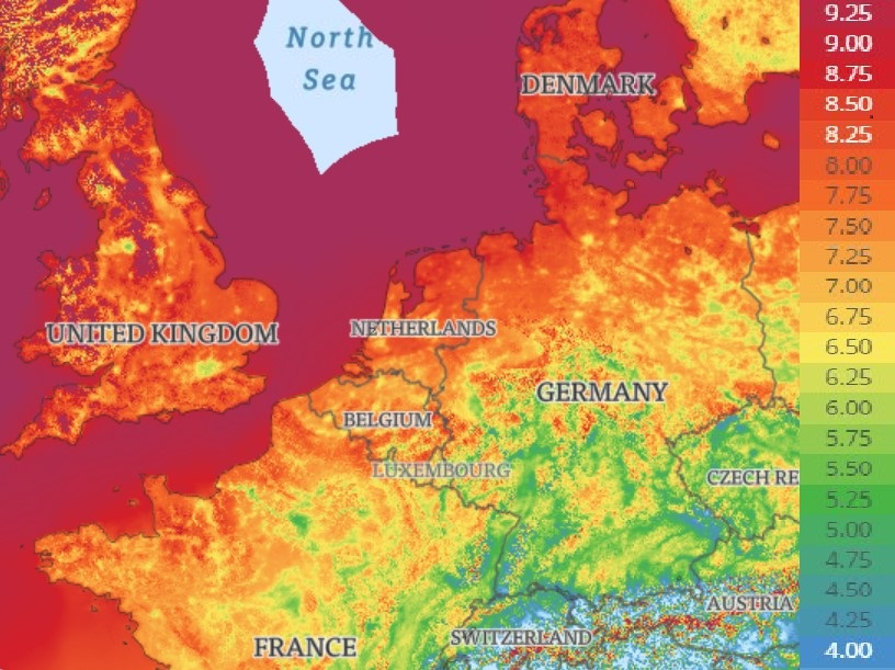 Global Wind Atlas: Western Europe wind data